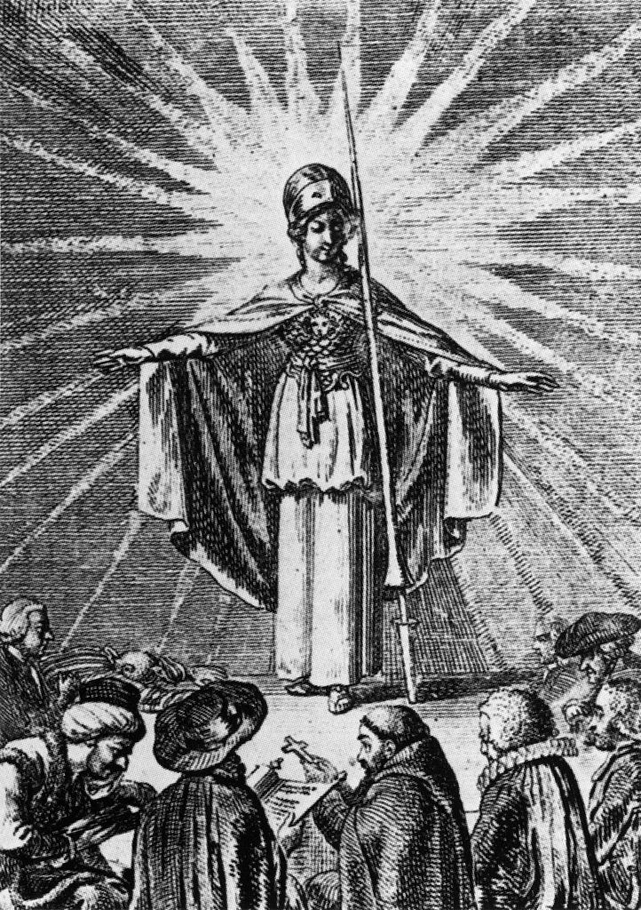 Minerva as a symbol of enlightened wisdom protects the believers of all religions (Daniel Chodowiecki, 1791)