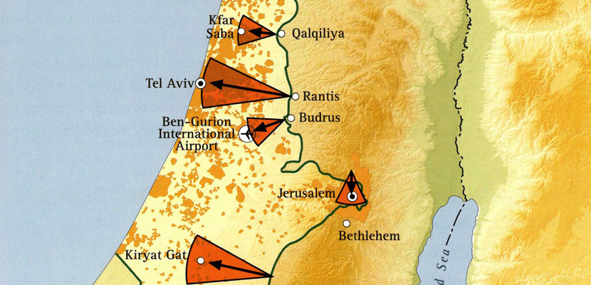 Defensible borders in the age of is mosaic an excerpt of a map showing threats to israeli population centers from the west bank gumiabroncs Choice Image