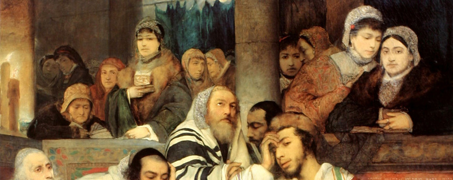 From Jews praying in the synagogue on Yom Kippur, 1878, by the Polish Jewish painter Maurycy Gottlieb (1856-1879). Via Wikimedia.
