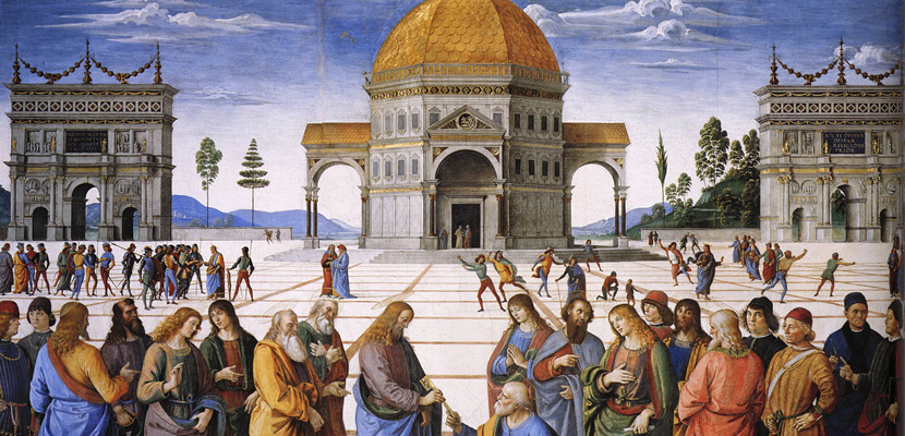 From The Delivery of the Keys, a 1482 fresco by the Italian Renaissance painter Pietro Perugino. Wikimedia.