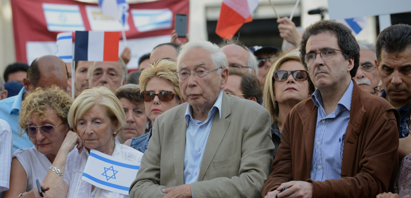 French Jewish supporters of Israel at a July demonstration in Paris. EREZ LICHTFELD/SIPA via AP.