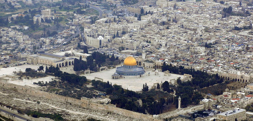 Aerial view of the Temple Mount. Wikimedia Commons.