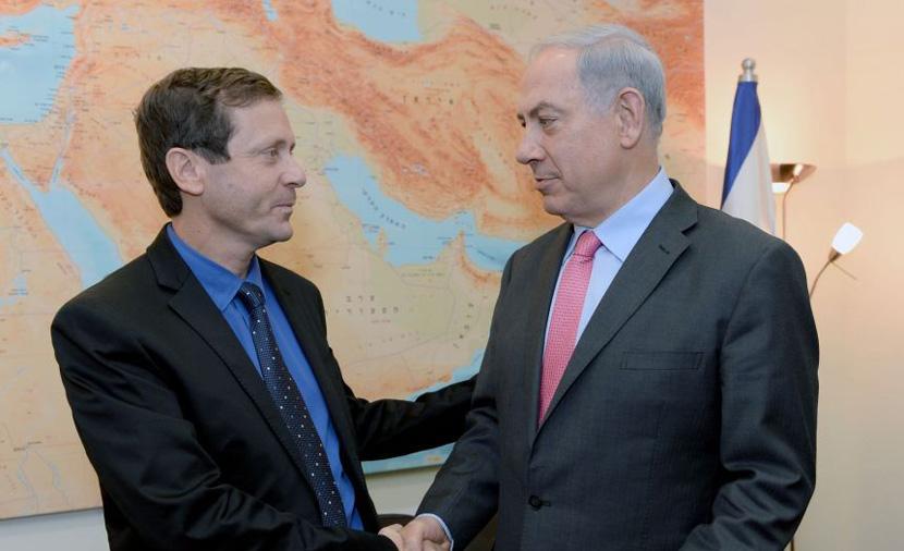 Opposition leader Isaac Herzog, left, with Prime Minister Benjamin Netanyahu. Kobi Gideon, GPO
