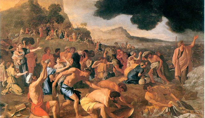 From The Crossing of the Red Sea, 1634, by Nicholas Poussin. Wikipedia.