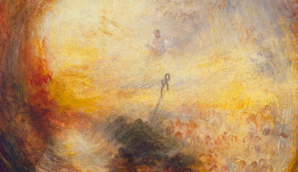 From Light and Colour (Goethe's Theory) – The Morning after the Deluge – Moses Writing the Book of Genesis, 1843, by the British painter J.M.W. Turner. Wikipedia.