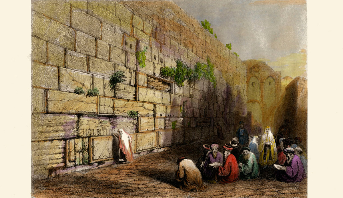 A hand colored engraving of Jerusalem from 1840. Drawn by William Henry Bartlett, engraved by E. Challis. Photo by Culture Club/Getty Images.