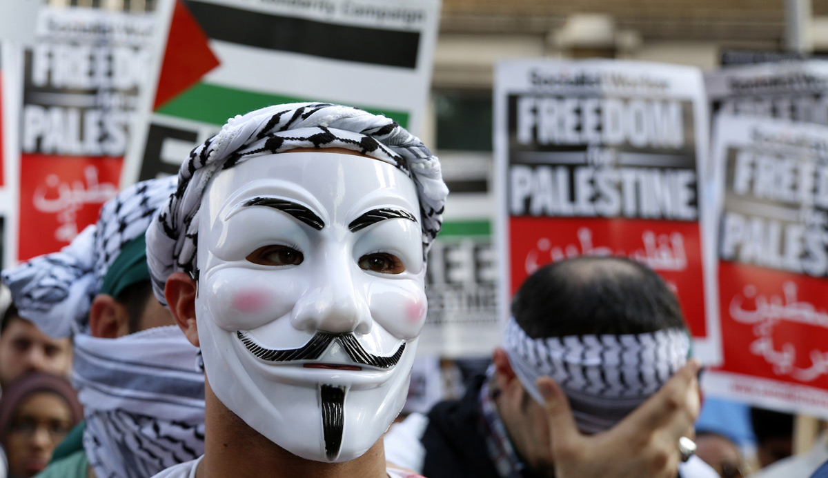 Anti-Israel protestors in July 2014. Yunus Kaymaz/Anadolu Agency/Getty Images.