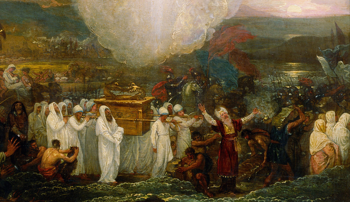 From Joshua passing the river Jordan with the Ark of the Covenant, 1800, by Benjamin West. Wikipedia.
