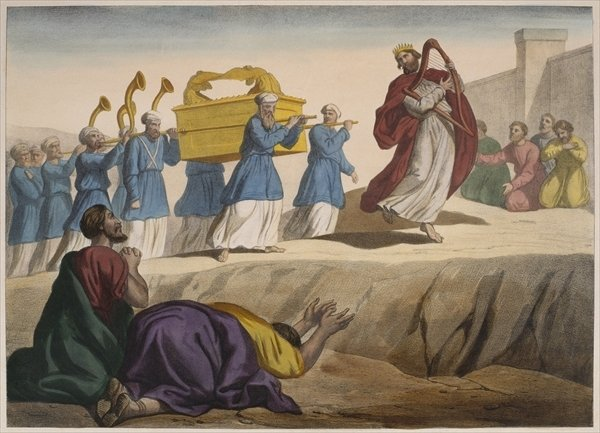 David escorting the Ark of the Covenant to Jerusalem, illustration from a catechism 'L'Histoire Sainte', published by Charles Delagrave, Paris, late 19th century.