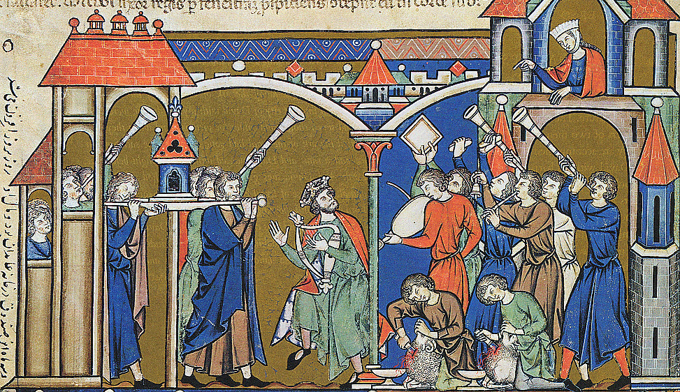 David brings the ark into Jerusalem, from the 13th century Morgan Bible. Wikimedia.