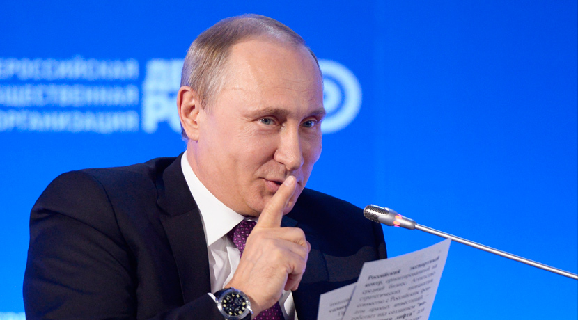 "<em>Russian President Vladimir Putin gestures as he speaks at the ""Business Russia"" forum in Moscow on May 26, 2015.</em> Alexei Nikolsky/RIA Novosti, Kremlin Pool Photo via AP."