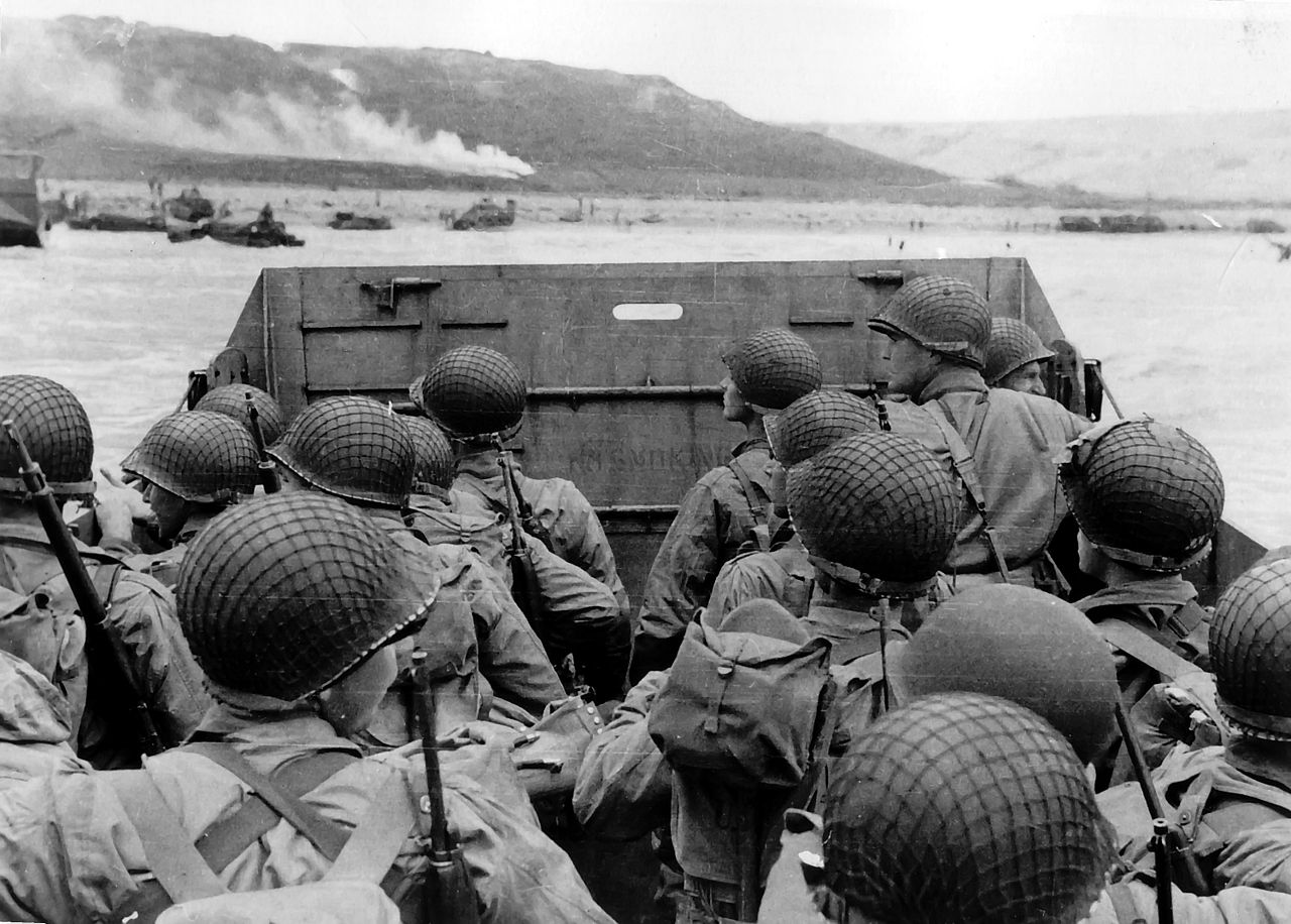 American troops approaching Omaha Beach, during the Invasion of Normandy on D-Day, June 6, 1944. Wikipedia.