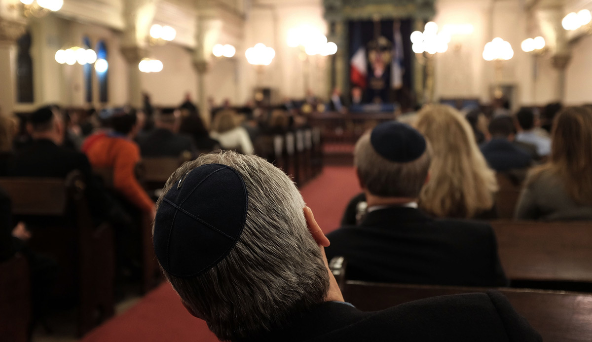 A man at the Park East Synagogue in Manhattan. Spencer Platt/Getty Images.