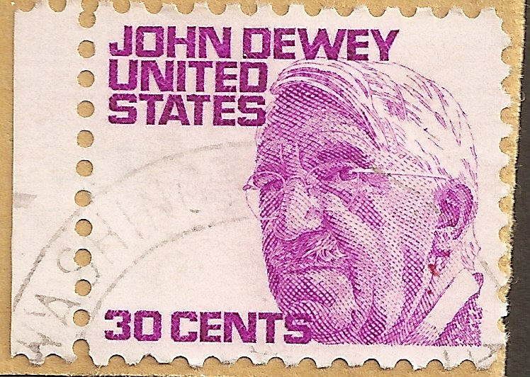 A 1950s postage stamp featuring the progressive philosopher John Dewey. Wikimedia.