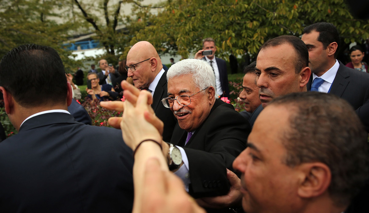 Palestinian leader Mahmoud Abbas at the United Nations in September 2015. Spencer Platt/Getty Images.