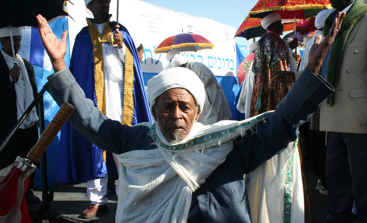 An Ethiopian Jew celebrating the holiday ofSeged. Wikipedia.