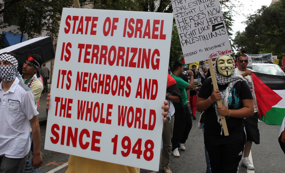 Anti-Israel protesters in Washington D.C. on August 2, 2014. Basri Sahin/Anadolu Agency/Getty Images.