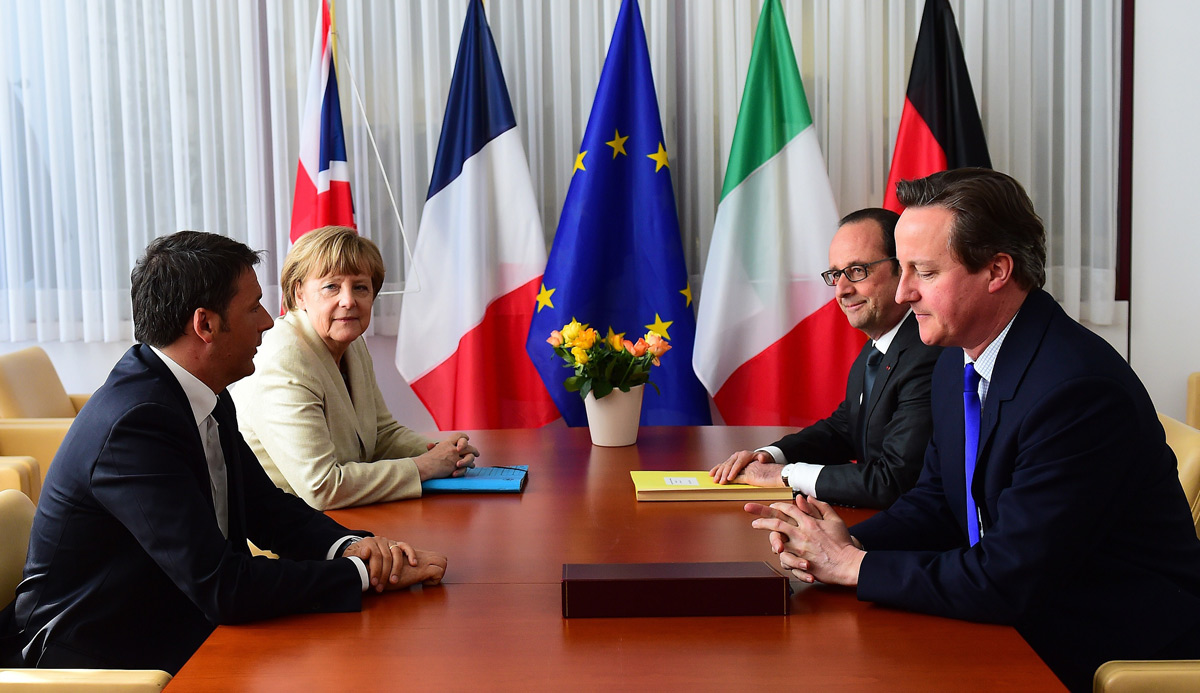 Italian Prime Minister Matteo Renzi, German Chancellor Angela Merkel, French President Francois Hollande and British Prime Minister David Cameron meet in Brussels, on April 23, 2015. EMMANUEL DUNAND/AFP/Getty Images.