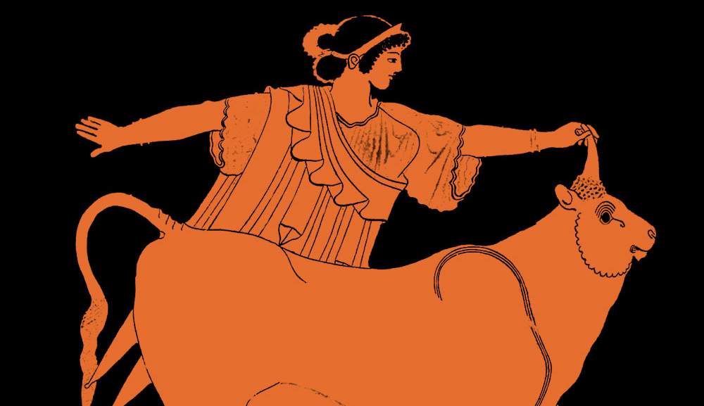 Europa and the bull on an ancient Greek vase. Wikipedia.