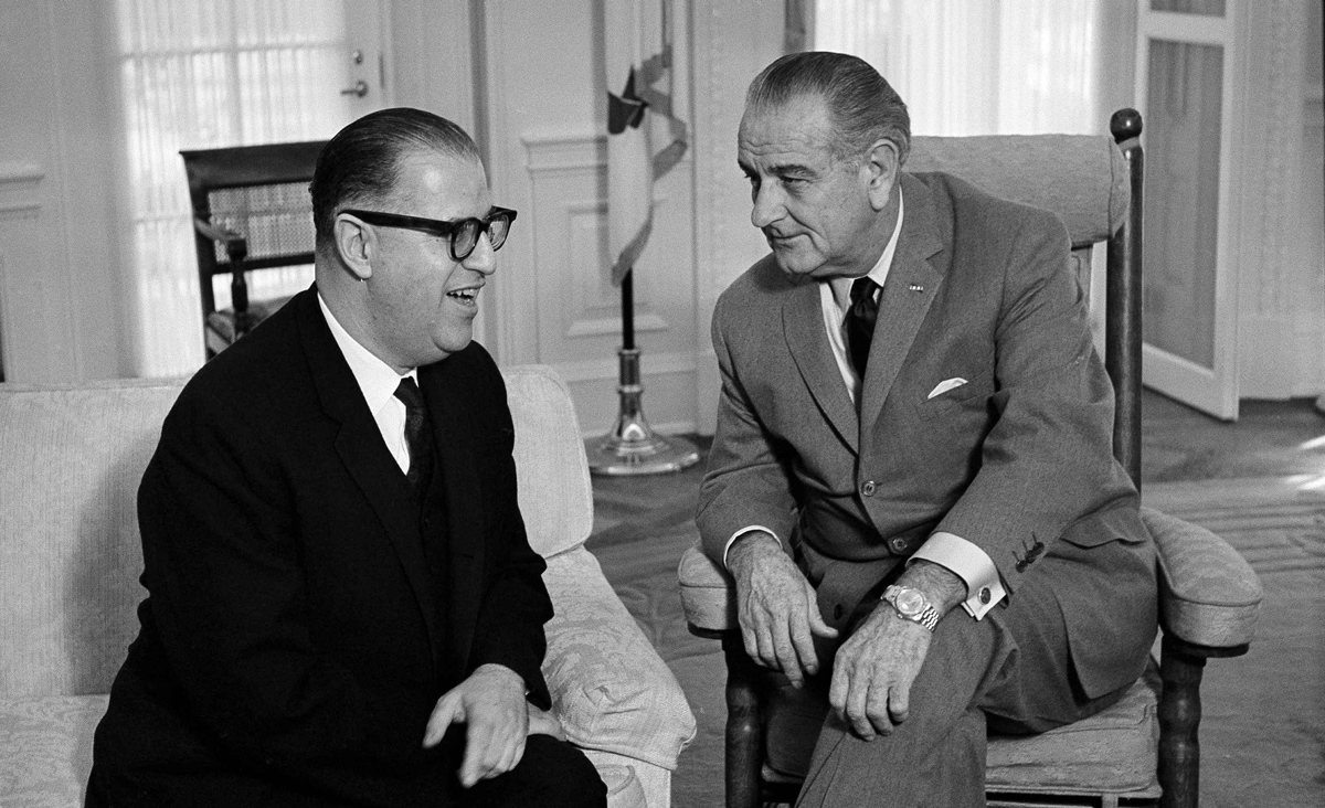 U.S. President Lyndon Johnson and Israeli Foreign Minister Abba Eban, left, confer at the White House on October 22, 1968. AP Photo/Henry Griffin.