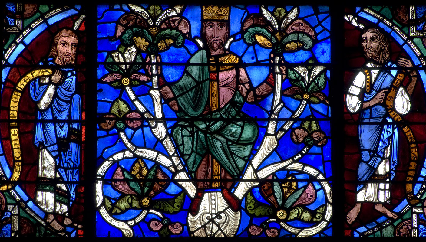 A section of the Tree of Jesse windowatChartres Cathedral depicting Ezekiel,David, and Hosea. Wikimedia.