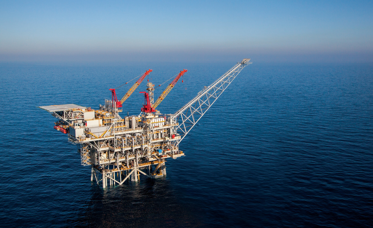 A production platform above Israel's offshore Tamar natural gas field. Albatross via Getty Images.