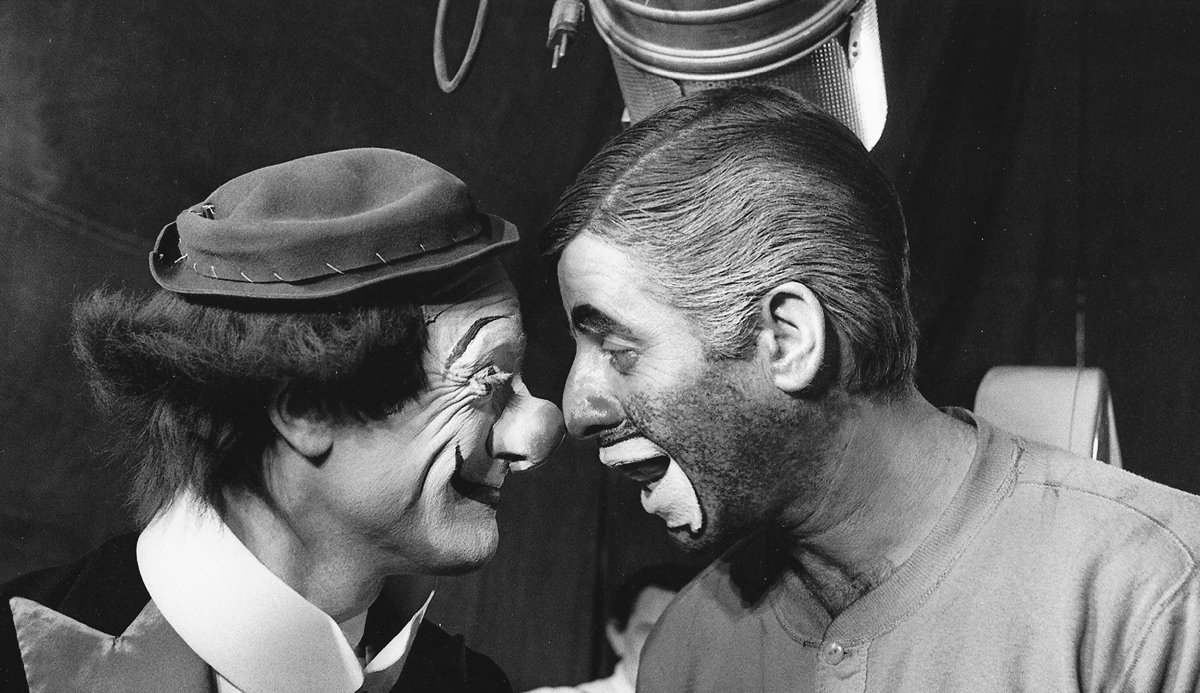From Jerry Lewis' unreleased clown-Holocaust movie The Day the Clown Cried, 1972.