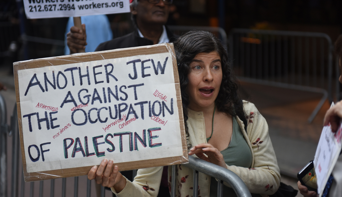 A Jewish anti-Israel demonstrator in New York City in 2014. Andy Katz/Pacific Press/LightRocket via Getty Images.