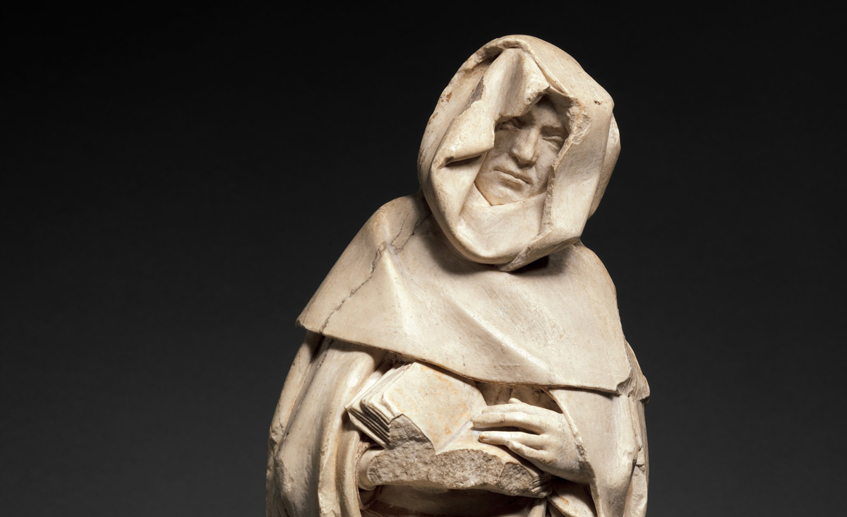 A mourning figure in alabaster, ca. 1453, France, begun by Jean de Cambrai and completed by Étienne Bobillet and Paul de Mosselman. The Metropolitan Museum of Art.