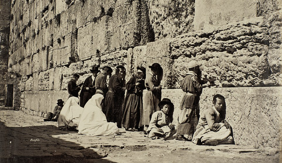Jews praying at the Western Wall in the 19th century.