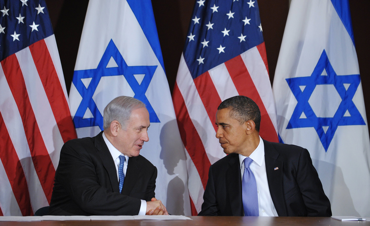 US President Barack Obama shakes hands with Israeli Prime Minister Benjamin Netanyahu during a meeting September 21, 2011 at the United Nations in New York City. MANDEL NGAN/AFP/Getty Images.