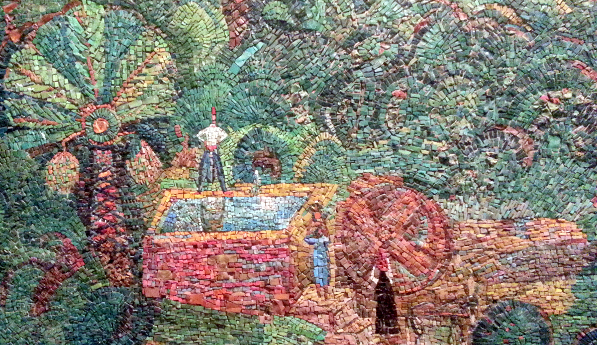 A detail of a mosaic wall showing orchards and a fountain outside old Jaffa by the Israeli artist Nachum Gutman. Wikipedia.