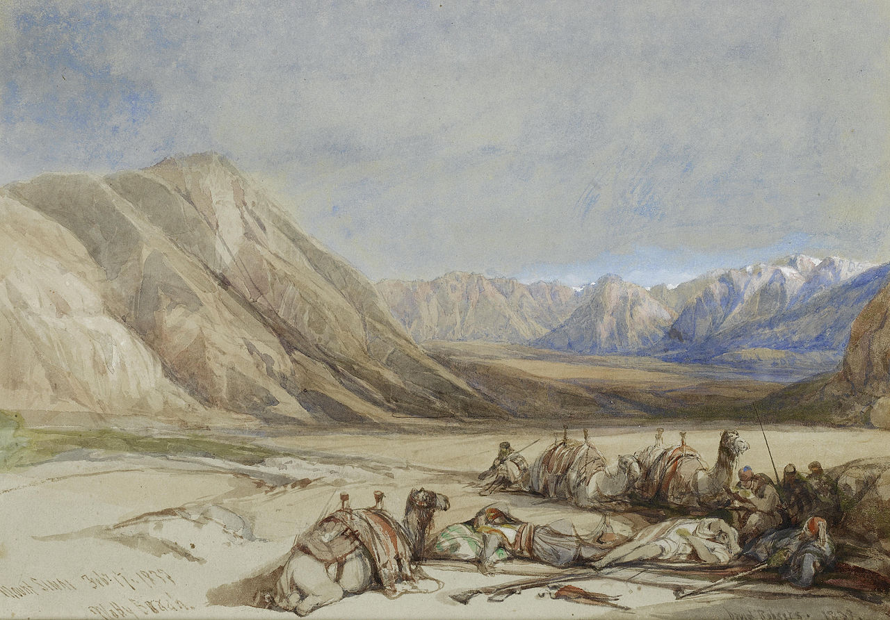 From The Approach to Mount Sinai, by David Roberts, 1839. Wikimedia.