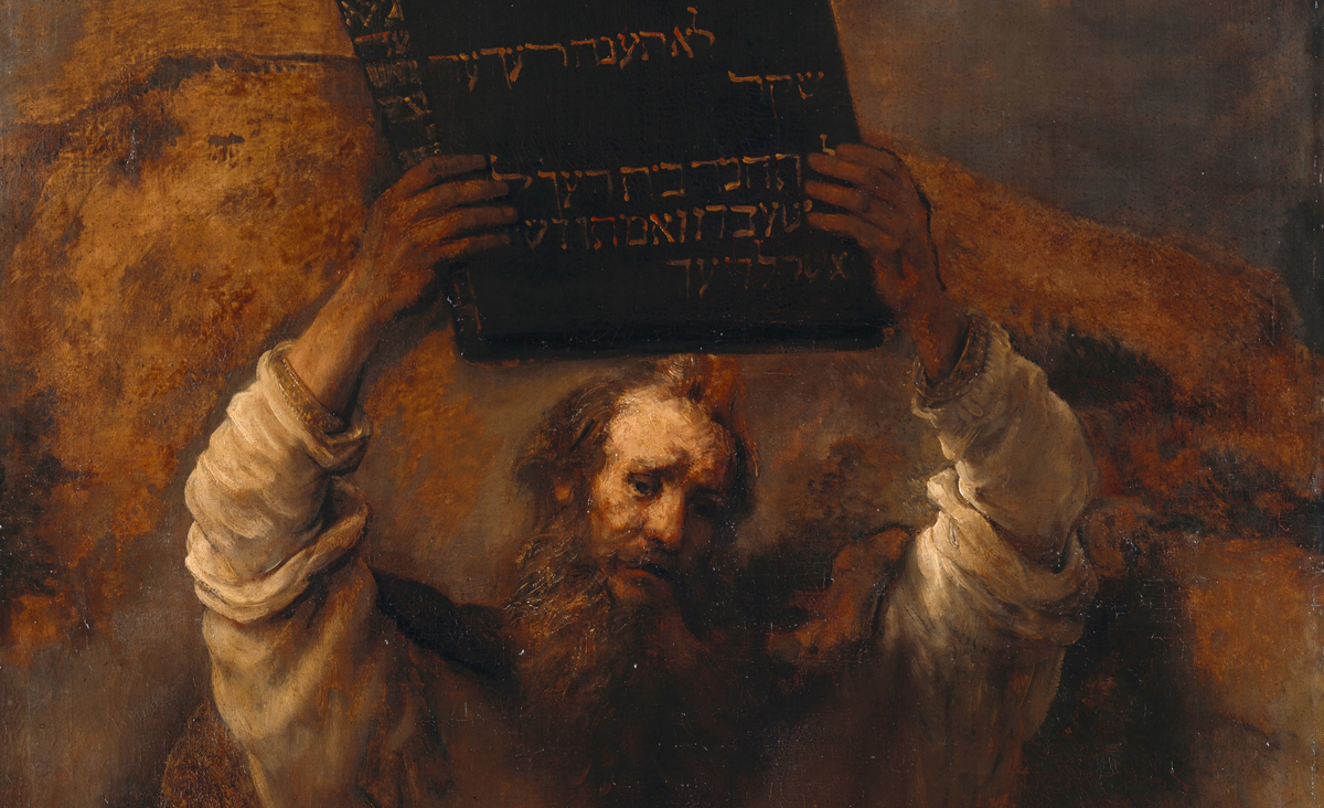 A detail from Moses with the Ten Commandments by Rembrandt, 1659. Wikipedia.