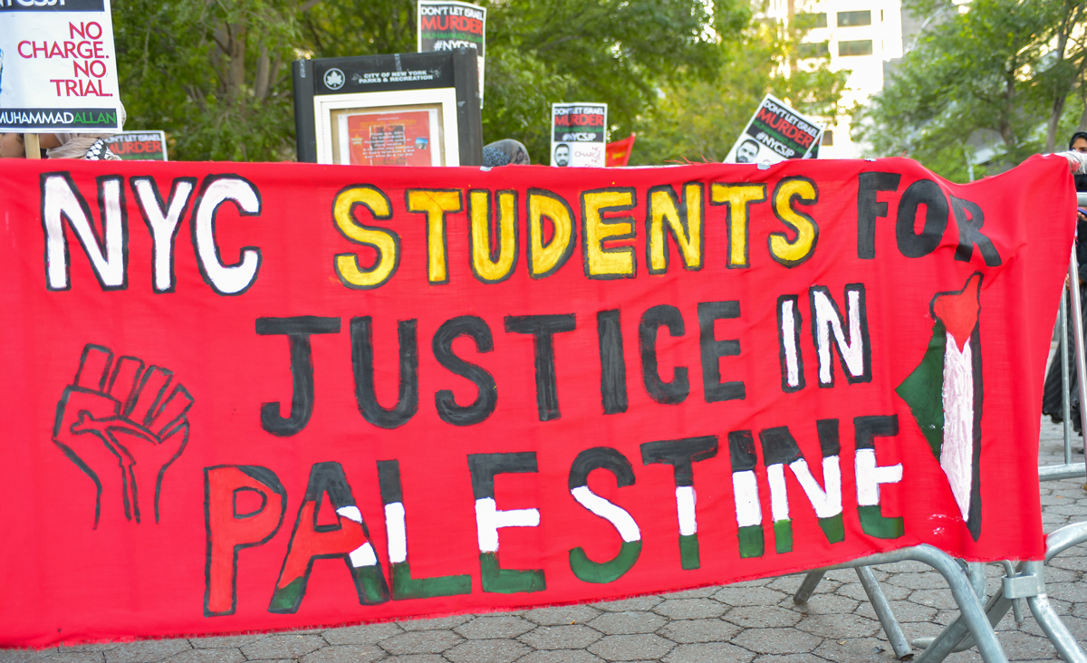 A banner for Students for Justice in Palestine at a rally in New York in 2015. Albin Lohr-Jones/Pacific Press/LightRocket via Getty Images.