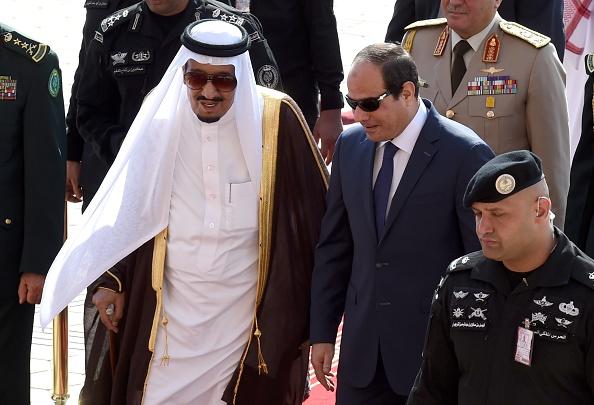 King Salman bin Abdulaziz al-Saud of Saudi Arabia with Egypt's President Abdel Fattah el-Sisi. Fayez Nureldine/AFP via Getty Images.