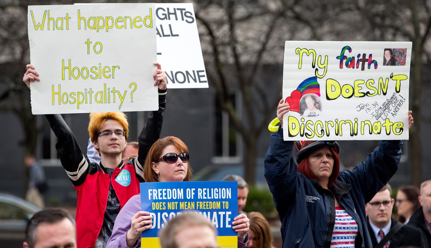 Anti-Religious Freedom Restoration Act demonstrators in Indianapolis in 2015. Aaron P. Bernstein/Getty Images.