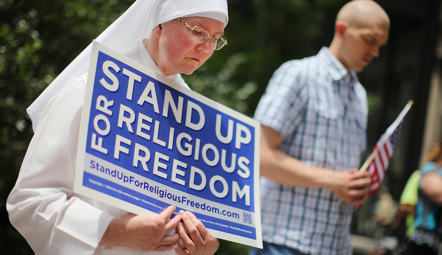 A nun at a rally with other supporters of religious freedom in Chicago, 2014. Scott Olson/Getty Images.