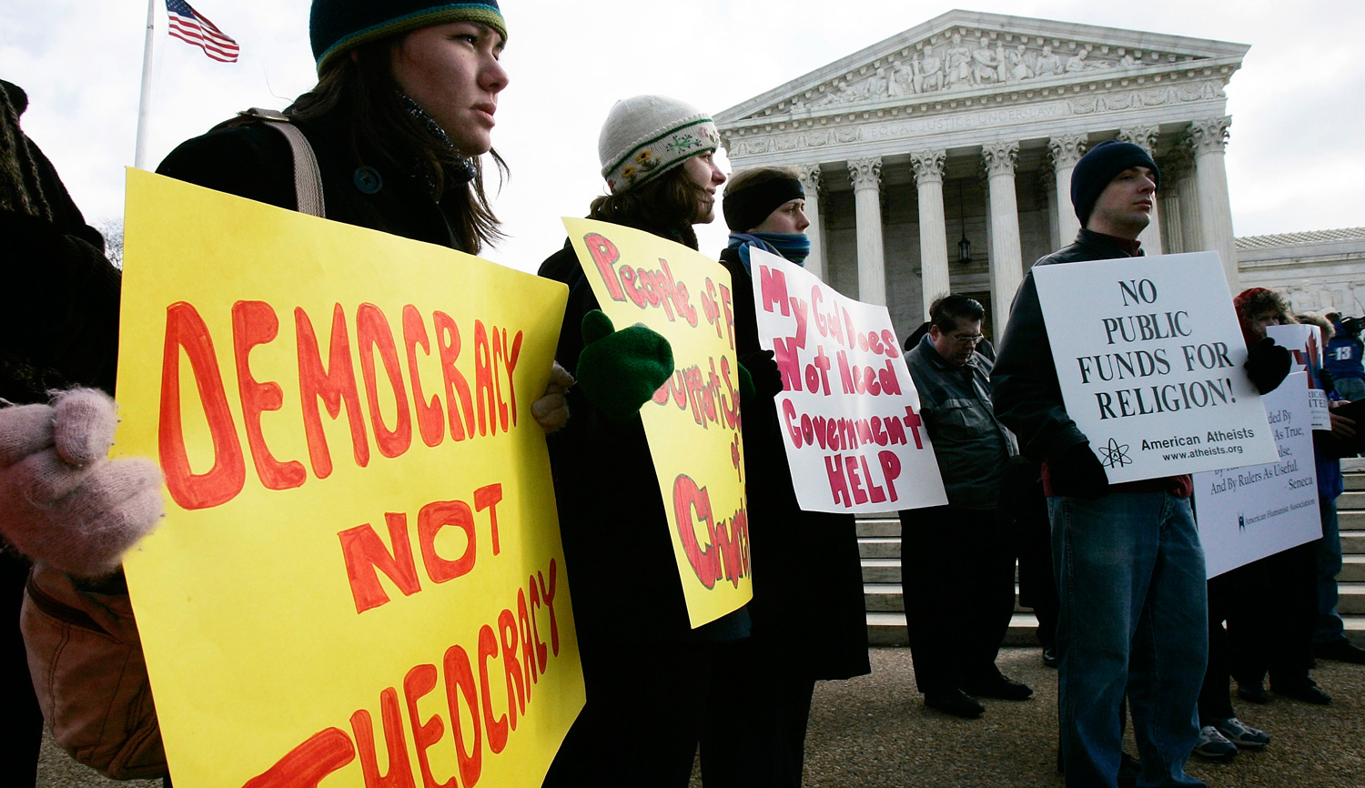 Activists during a rally in front of the U.S. Supreme Court on March 2, 2005. Alex Wong/Getty Images.