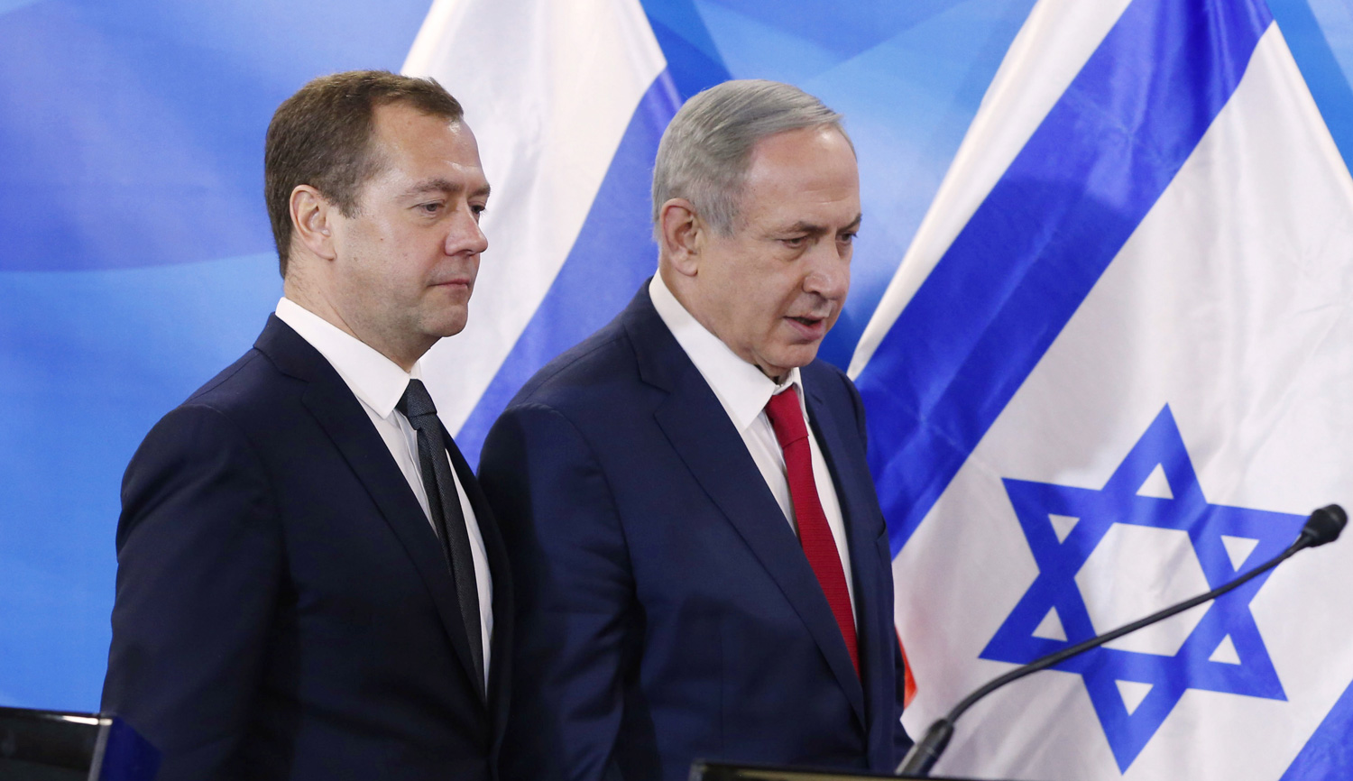 Russian Prime Minister Dmitry Medvedev and Israeli Prime Minister Benjamin Netanyahu during a press conference on November 10, 2016. Dmitry AstakhovTASS via Getty Images.