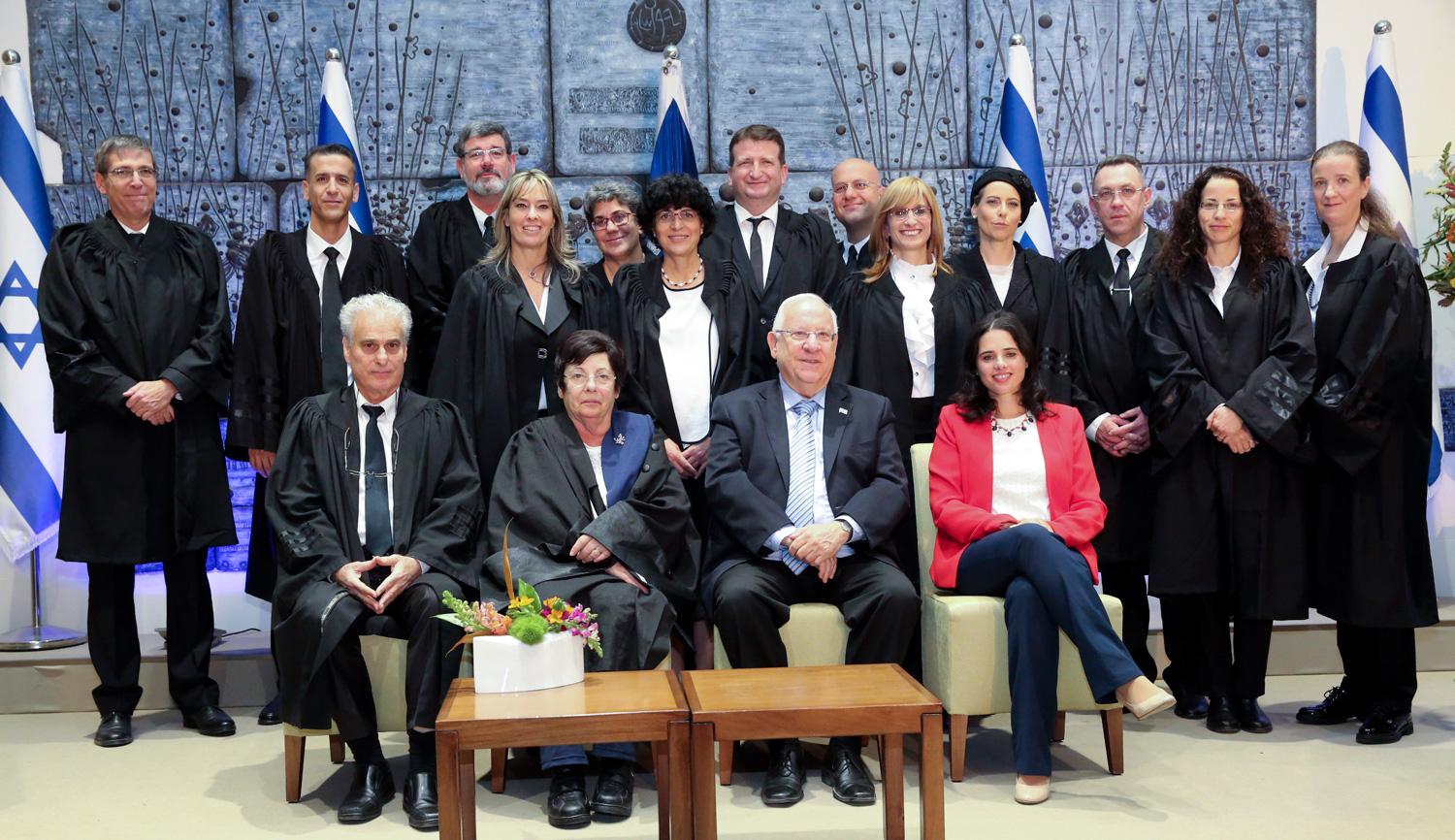 A swearing-in ceremony for newly appointed judges at the Israeli president's residence in Jerusalem on December 8, 2016. Yossi Zamir/Flash90.