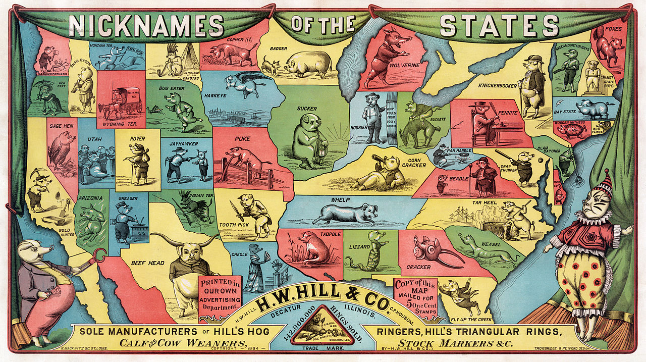 An 1884 of the United States showing the state nicknames. Wikipedia.