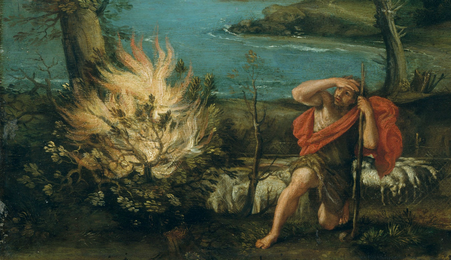 From Landscape with Moses and the Burning Bush by Domenichino, 1616. Metropolitan Museum of Art.