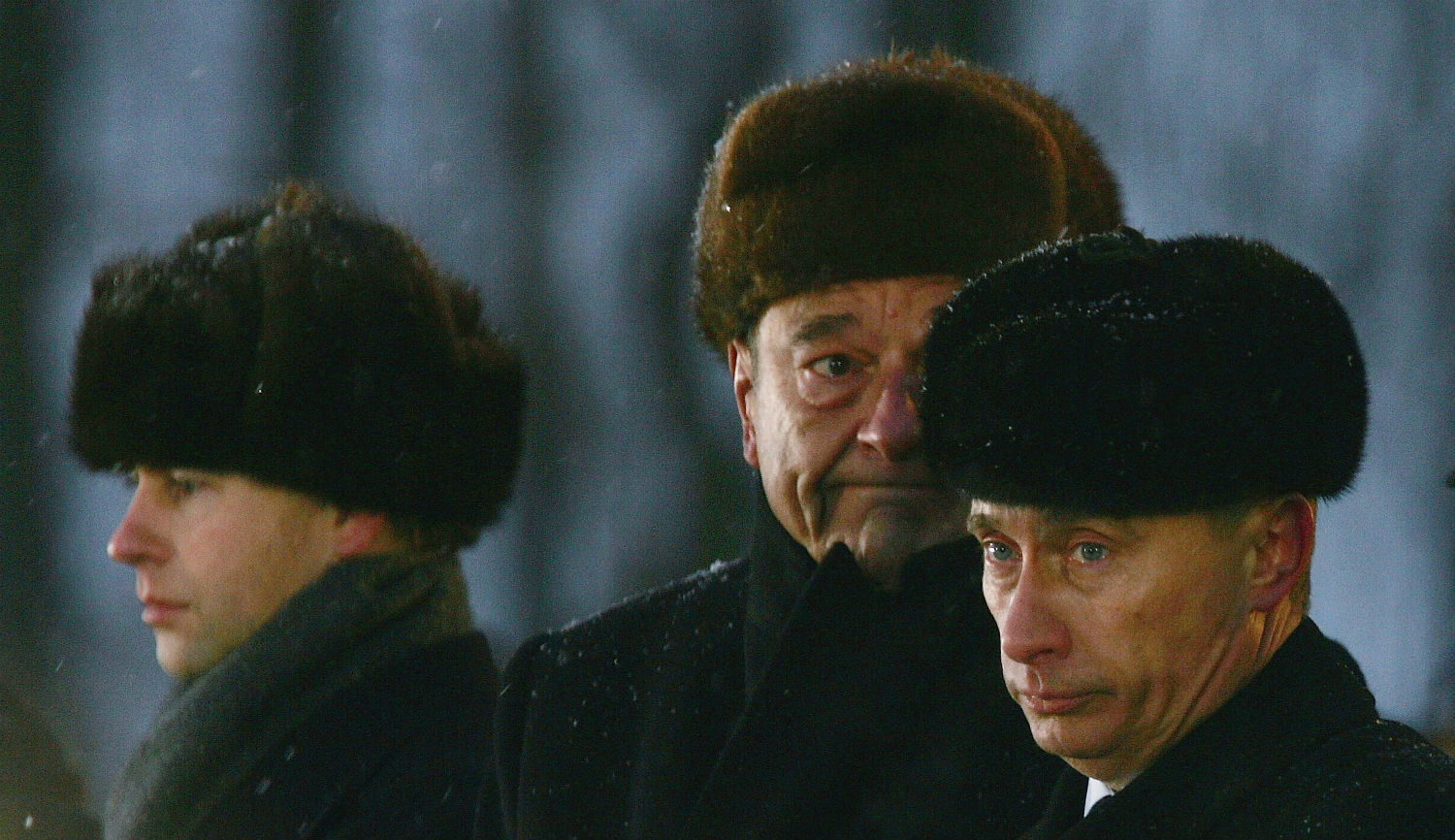 Vladimir Putin in a January 27, 2005 ceremony at Auschwitz, Poland, to mark the 60th anniversary of the liberation of the camp by the Soviet Red Army. Photo by Julian Herbert/Getty Images.