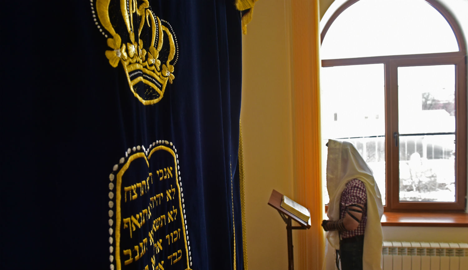 A man at a synagogue in the Russian city of Pyatigorsk. Anton PodgaikoTASS via Getty Images.