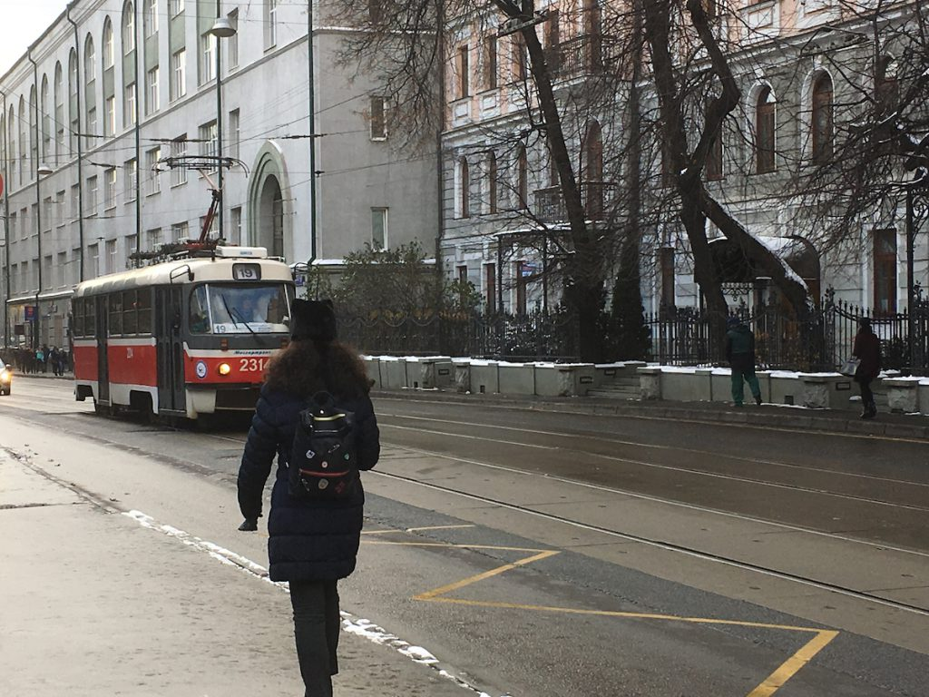 Moscow tram No. 19 in the historically Jewish neighborhood of Mary's Grove.