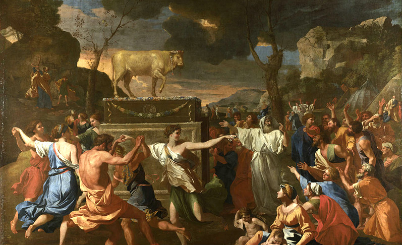 From The Adoration of the Golden Calf by Nicolas Poussin, 1633. National Gallery.