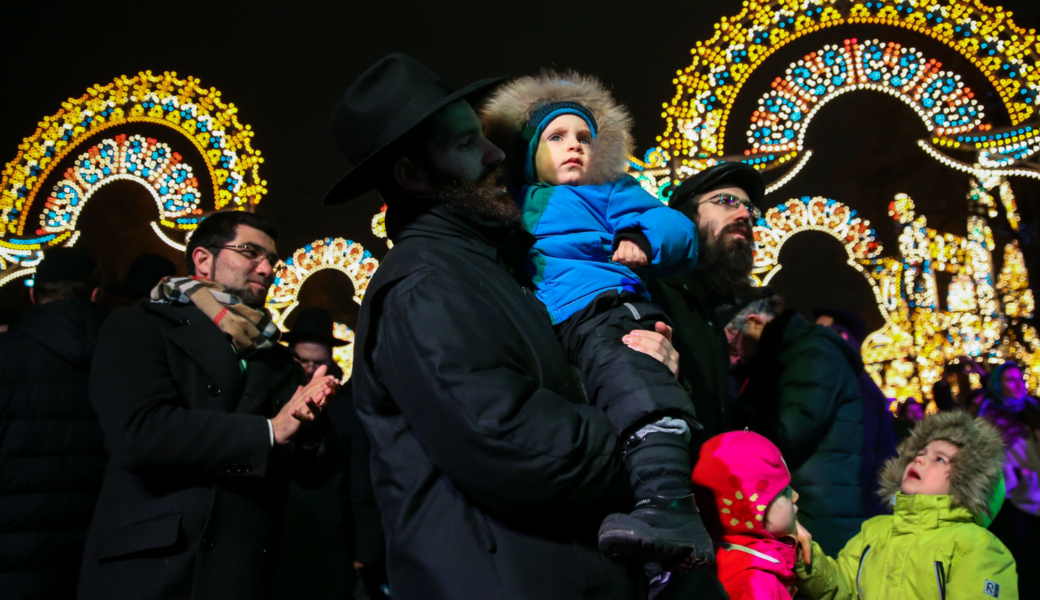 A Hanukkah celebration in Moscow's Revolution Square in December 2016. Artyom GeodakyanTASS via Getty Images.