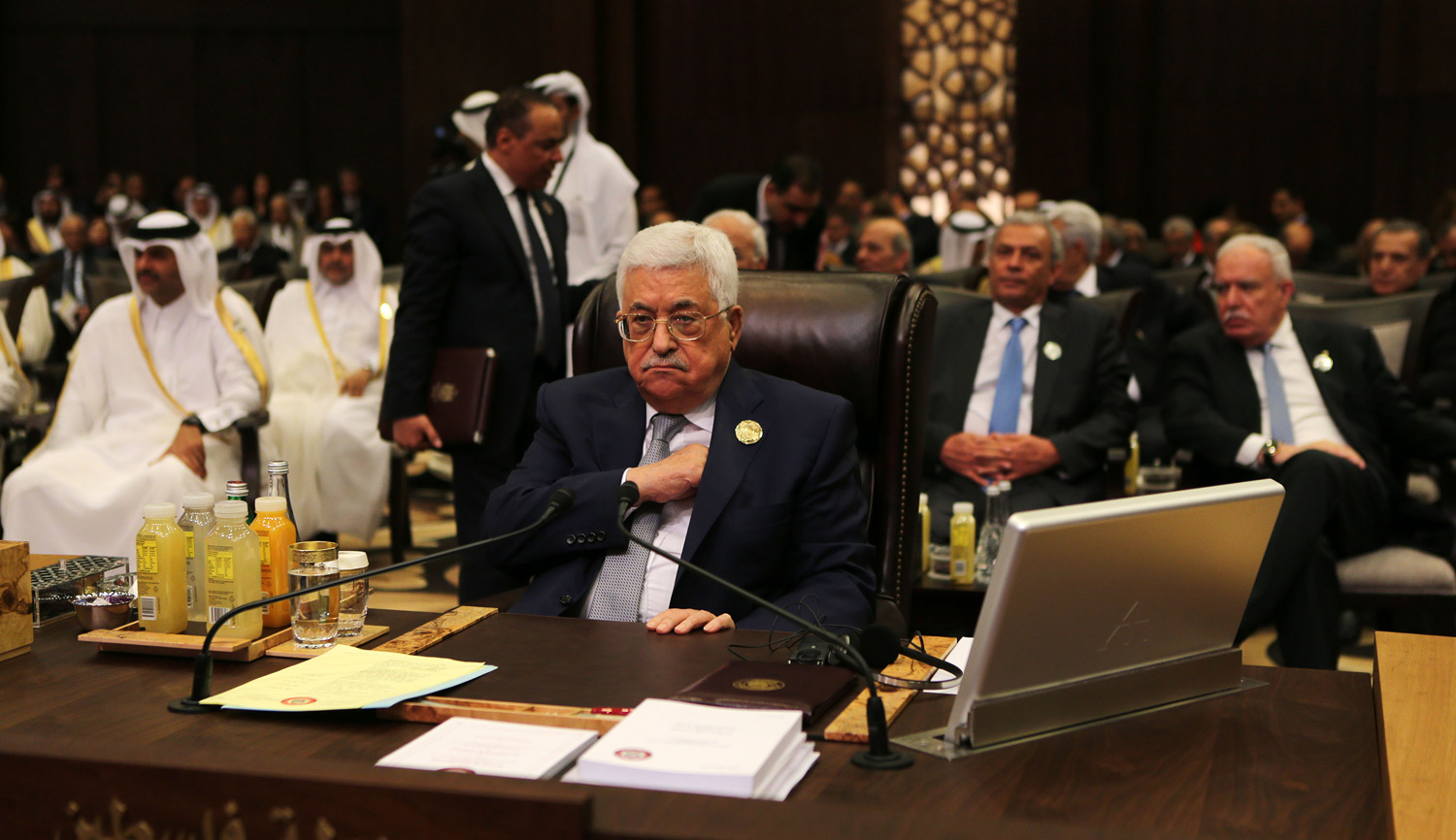 Mahmoud Abbas at an Arab League summit in Jordan on March 29, 2017. Jordan Pix/ Getty Images.