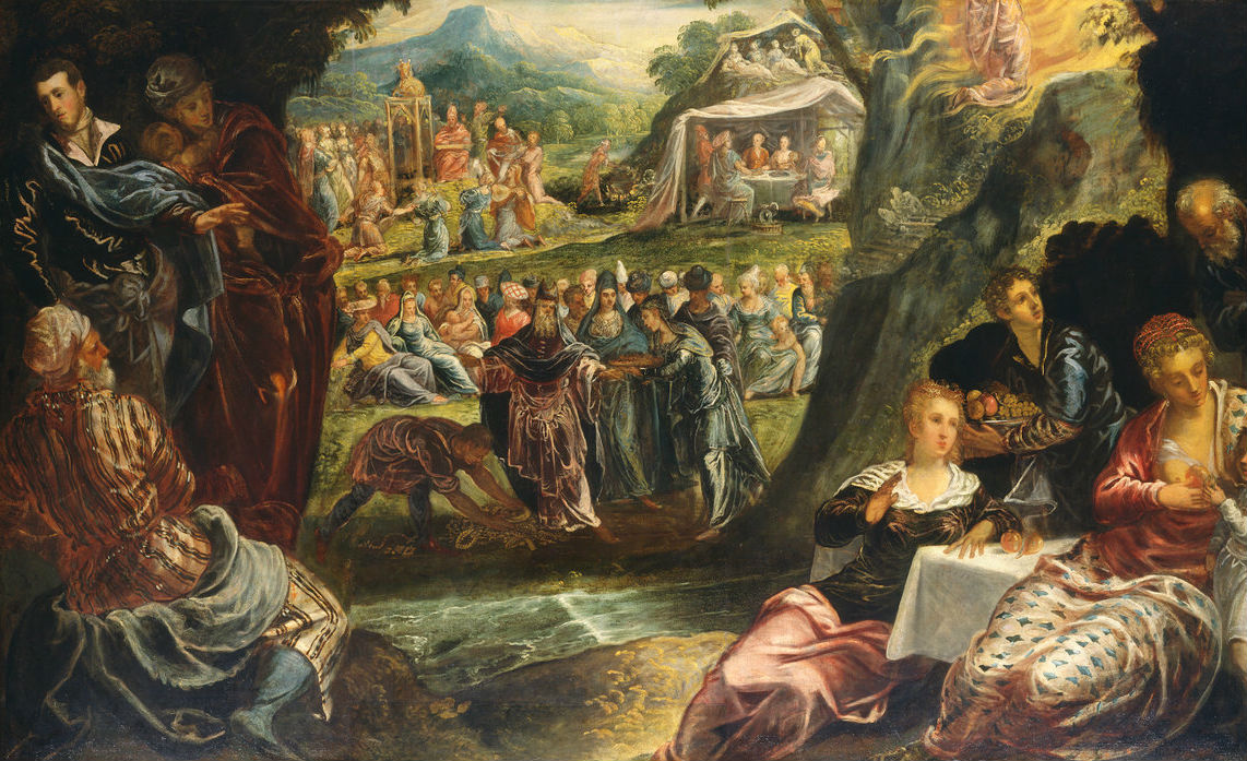 From The Worship of the Golden Calf by Jacopo Tintoretto; c. 1560. NGA.